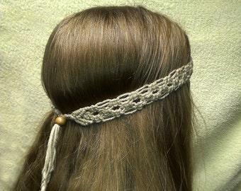 Nature friendly linen  macrame Headband.