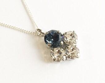 4 stone  Swarovski bubble necklace  in Denim
