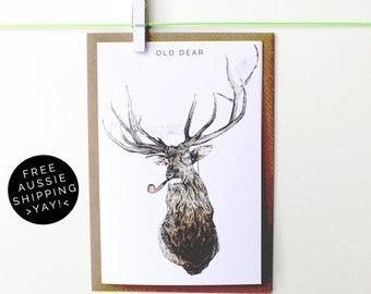 Old Dear Greeting Card - Illustrated Blank Card - 100% Recycled - From TheWildGooseProject
