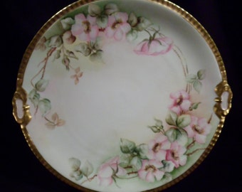 Vintage Porcelain, Ceramic Serving Platter, Plate, Hand-Painted Floral