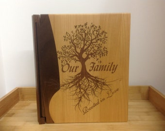 "Laser Engraved ""Our Family"" Maple and Walnut Wood Photo Album"
