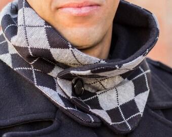Diamonds scarf with polar fleece inside, neckwarmer, polar fleece neckwarmer, man scarf, man neck warmer, men cowl