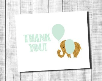 Gold and Mint Elephant Thank You Note Card - Immediate Download _ 63