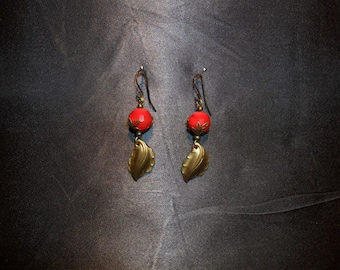 Coral earrings and leaf