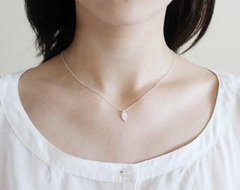 tree bark necklace 1. - white silver