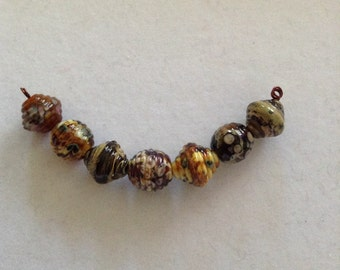 Lampwork bead set, earthy browns, bead set, set of 7, ribbed rounds and bicones, handmade