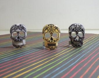 Sugar Skull Silver Plated Adjustable Ring
