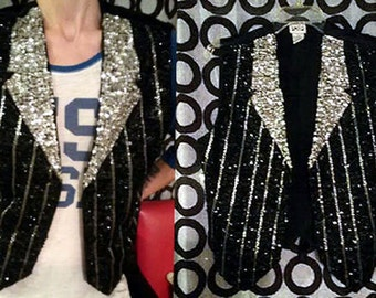 Vintage SEQUIN TUXEDO VEST Glam Rock Burlesque Pinstripe- Adjustable size