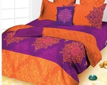 Popular items for king size comforter on etsy - Orange and purple bedding ...