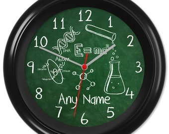 Science Clock Teacher Student Pupil Equation Chalkboard Blackboard Greenboard Classroom #1 - Can be personalised (8753)