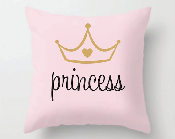 Gold Crown Throw Pillow : Princess with gold crown on soft pink decorative pillow cover