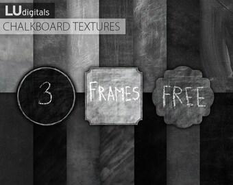 Chalkboard digital paper scrapbook chalkboard textures grunge gray chalk board schoolboard black background printable invitation party DIY