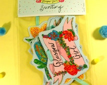 GLASGOW GIRL Illustrated Bunting, Floral Cute Girly Bunting, Handmade Party Bunting, Quirky Cute Scottish Gift