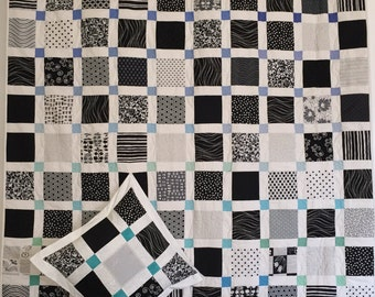 In Stock: Blue & Green Square Modern Lap Quilt with Pillow Case 15052