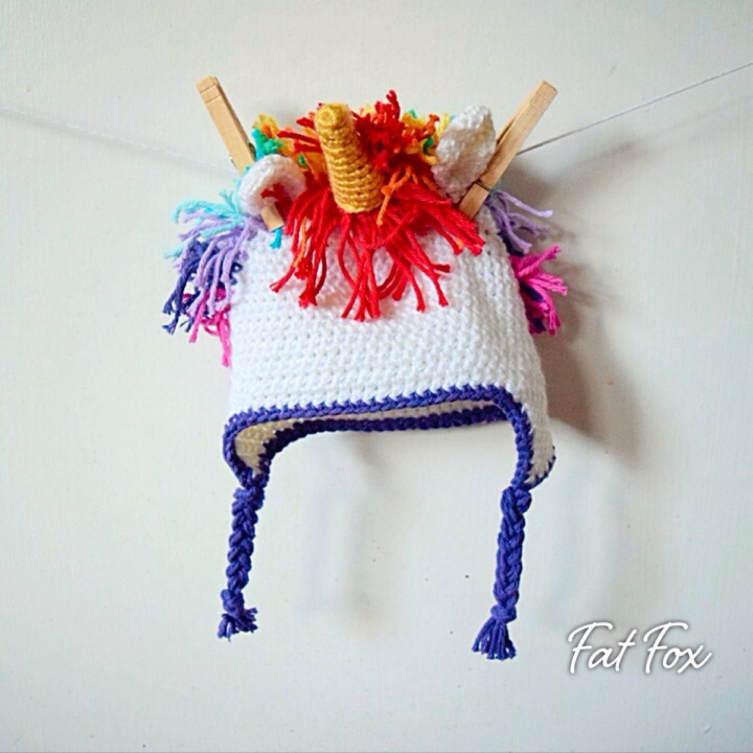 Crochet Unicorn Hat Baby Photo Prop New Baby Gift by FatFoxDesigns