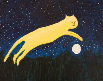 The cat leaps through the night