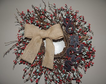 Ohio State University Twig and Berry Wreath