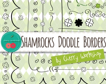 St Patrick's Borders - cute doodle borders, doodle  Shamrocks Borders