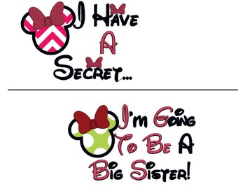 Two Designs Disney Minnie Mouse. I have a Secret, I am Going to be a Big Sister Appliqué. Instant Download  Embroidery Design. 4x4 5x7 6x10