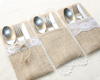 SET OF 15 Plain Burlap Silverware Holders