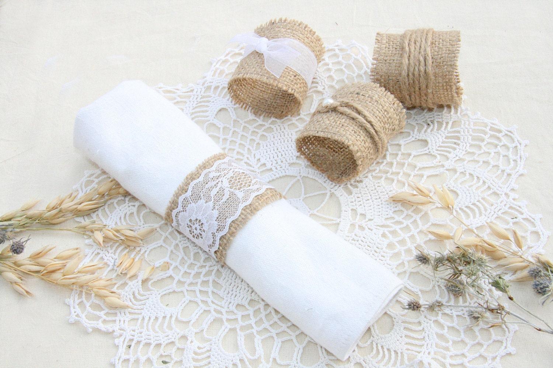 SET OF 150 Burlap Napkin Rings Rustic Wedding by ...