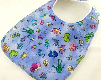 Baby/Infant Bib - Butterflies & Bugs Blue Cotton Fabric, Terry Toweling backed, Snap Fastened, Adjustable.