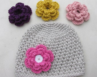 Kids Crochet Hat, Interchangeable Flowers, Baby, Toddler Child