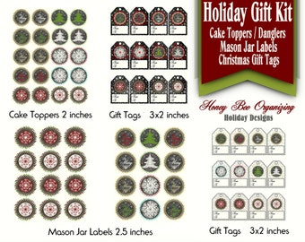 Printable Holiday Gift Kit - Christmas Mason Jar Labels - Christmas Chalkboard Gift Tags - Winter Party Circles / Cake Toppers Printables