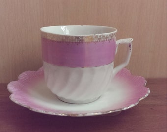 Pink and White Mustache Cup and Saucer