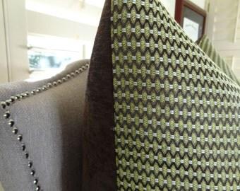 "SALE 30.00 - 22"" 20"" or 12""x20"" Green Brown Stripe Throw Pillow Cover - Zig Zag Chevron Pillow - Designer Pillow - Terrain Pillow - 11331"