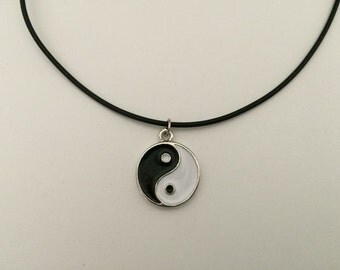 Yin Yang Charm on Leather Chord Necklace