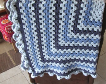 crochet baby blanket blue colors