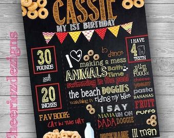 Cheerios Theme Chalkboard-Cereal- 1st birthday-Printable-Custom
