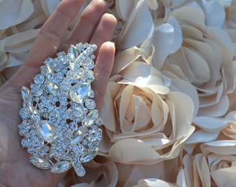 Jeannette's Large Silver Rhinestone Leaf Brooch. Oversized and Mezmorizingly Beautiful
