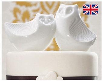 Wedding Cake Topper - Pair Of Owls Design - Owl Cake Topper - Procelain Cake Topper - Modern - Cute Cake Topper