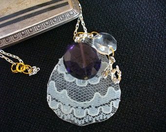Vintage Lace and Vintage Chandelier Crystal with Amethyst Glass Faceted Bead on a Gold and White Chain