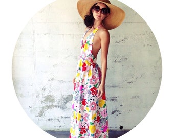 1970's Patty Woodard Long Colorful Floral Back-Less Dress