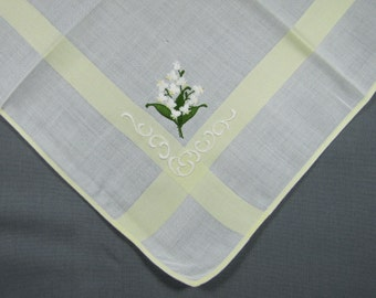 White Snowdrops Embroidered on White with Yellow Banding VINTAGE Cotton Hankie Handkerchief