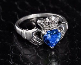 Sterling Silver Claddagh Ring w/ CZ Sapphire. September Birthstone Ring. Claddagh Ring. Trinity Claddagh Ring. 925 Sterling Silver.