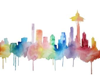 Seattle Art, Seattle Skyline Watercolor, Space Needle Print, Washington Print, Colorful, Rainbow, Jet-City, Emerald City, Rain City