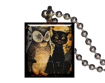 Vintage Creepy Cat Scary Owl - Reclaimed Scrabble Tile Pendant Necklace