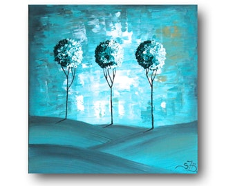 """Textured Abstract Painting, Abstract Tree, Palette Knife, Aqua Painting, Turquoise, """"Aqua Meadows"""" 24x24"""" by SFBFineArt"""