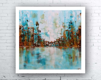 """Abstract Cityscape Print, Giclee Art Print, Print-On-Demand, Blue Art Print, Abstract Print, Abstract Landscape, """"Blue City"""" by SFBFineArt"""