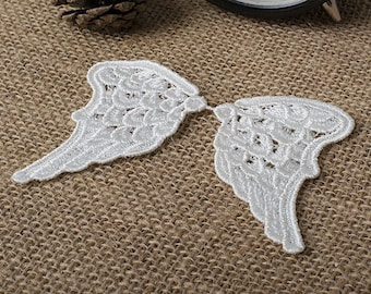2 Pairs Angel Wings Lace Appliques Vintage Off White Venice Lace Embroidery Patches Trim K056