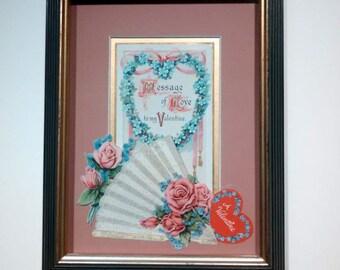 Vintage Roses valentine card shadowbox frame in pink, black and gold