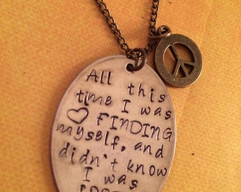 Lost Handstamped Peace Necklace
