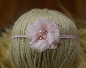 Pale Pink chiffon Headband, Pink Newborn headband, Baby Headband, Newborn Photo prop, Pink chiffon flower with rhinestone and pearl headband
