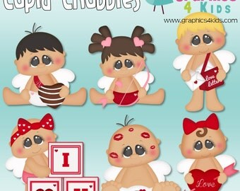 Cupid Chubbies Valentine Digital Clipart - Clip art for scrapbooking, party invitations - Instant Download Clipart Commercial Use
