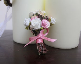 Pink and Ivory rose Button Hole, Mens Boutonniere, Groom, Wedding, Twine