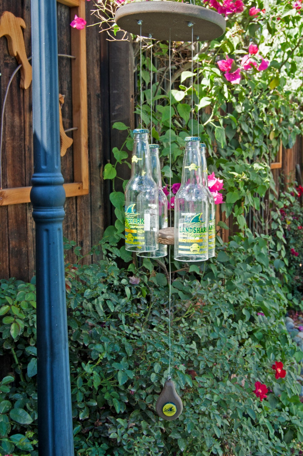 Landshark four beer bottle wind chime by shakyjaycreations for Bottle cap wind chime